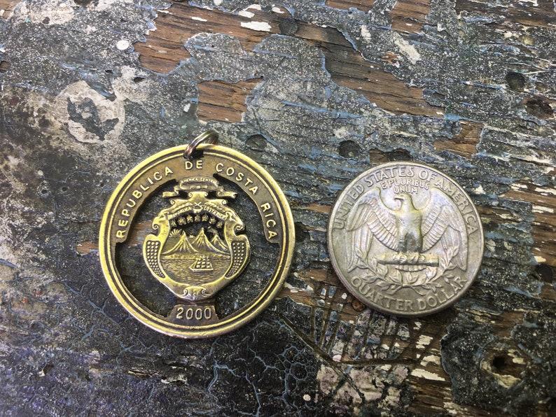 Hand cut 100 Colones brass coin Costa Rican coin Pendant Central America Latin