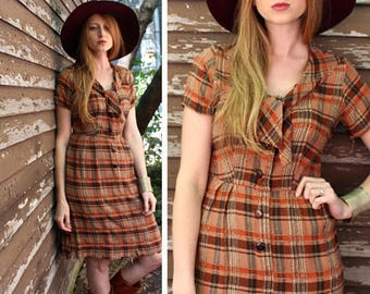 50s Vintage Kay Whitney Dress PUSSY-BOW Ascot Plaid Frock ROCKABILLY Rayon Cotton Blend Button Up Sailor Ties Short Sleeved Woman Small Size