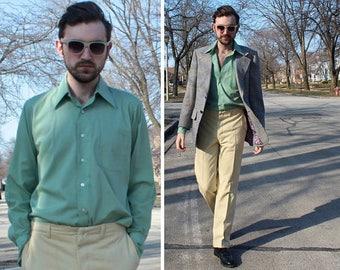 "70s Mod Dress Shirt GREEN SEAFOAM Vintage DuraPress Poly Cotton ""Richman Brothers"" USA Union Made Mens Retro long sleeve Button Up Shirt M/L"