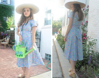 Vintage Knit Aline Dress BLUE Morning Glory Floral Print SUNDRESS Woman's Size Small Buttons & Bow TEE ShirtDress Spring Summer Garden Frock