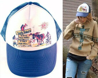 80s Baseball Cap NISSIN Vintage South Dakota Print TRUCKER HAT Nylon Mesh  Summer Campy Cap Mans Woman Boyfriend Hip Hop Grunge All Size Caps e4245d05340