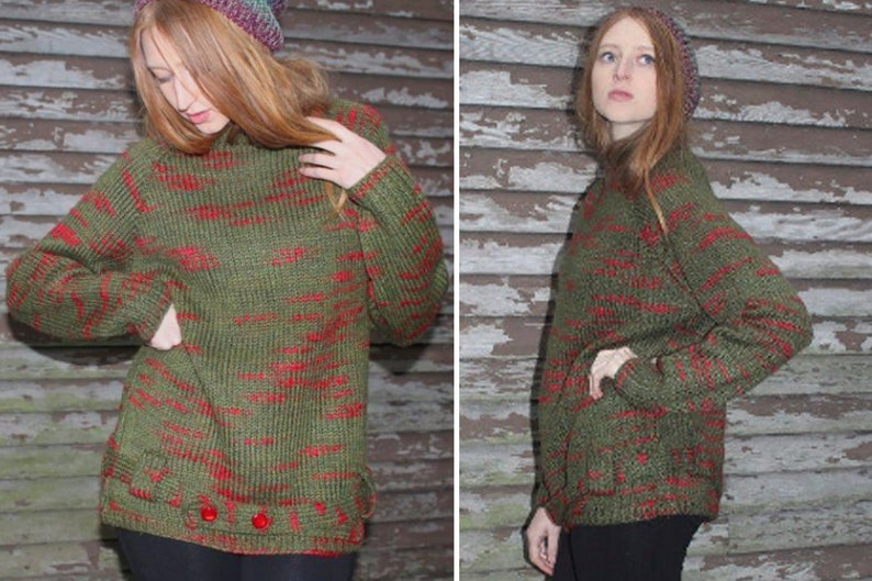 732f2d211 70s Vintage Tunic Sweater SPACE DYED Wool Knit JUMPER Red Flecks & Green  PullOver belt drop Waist Woman's Large Size Top Fall Winter Sweater