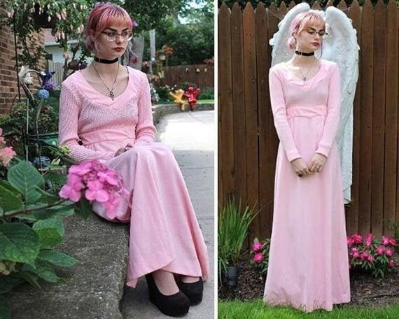 Vintage 70s Maxi Dress PRETTY 'N PINK Mod Woman Si