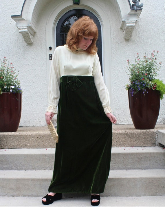 Mod Maxi Baby Doll Dress HOLIDAY FORMALS Vintage … - image 7