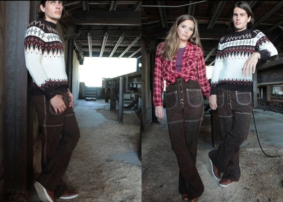 60s Genuine Leather Suede Pants BELL BOTTOMS Vinta
