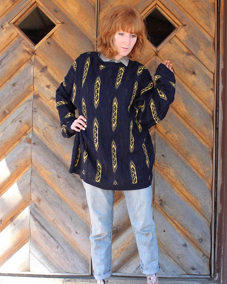 9fbbed85afb86 COOGI Vintage Oversized Sweater HIP HOP Knit Pullover Top 80s