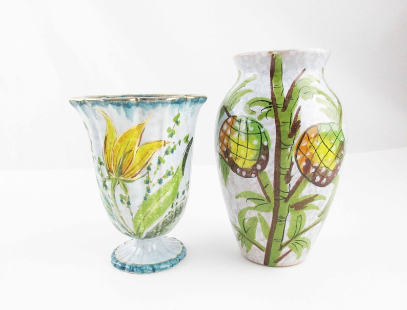 196 & Two \u0027Enesco Italia\u0027 Pottery Vases - Flowers and Fruit - Mottled Grey Background - Two Different Styles - Olive Green and Blue With Gold