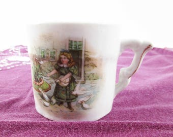 Girl Feeding Birds  - A 1920s Porcelain Cup - White Doves - Small Child's Cup - Scene With Girl Feeding Doves - Transferware