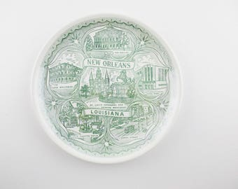 A 'New Orleans Louisiana' Plate - Green on Ivory Ironstone - City Sites With Lace Balconies, International Trade Mart, Canal Street and More