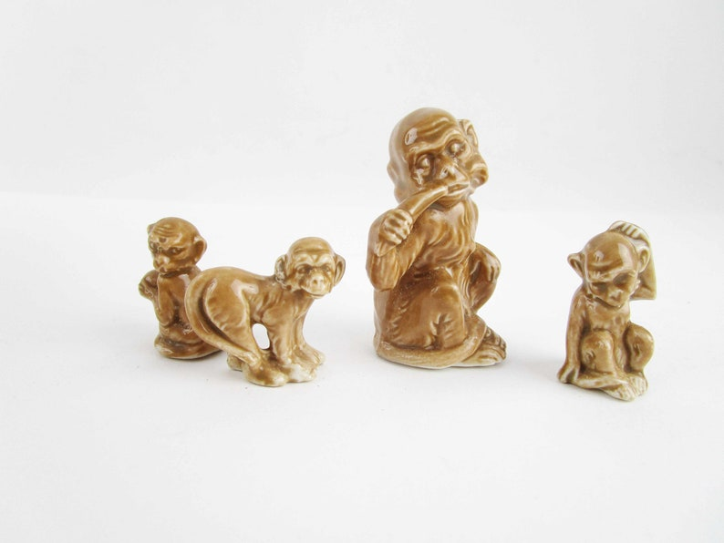 Fun Collectibles Brown Glazed Porcelain Marked /'Germany/' Monkey Different Poses Possible Karl En Family of Monkey Miniatures