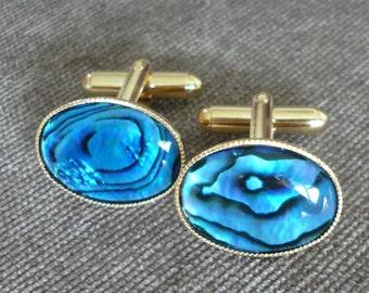 Blue Cufflinks Abalone Shell Gold Plated.Mens.Cuff Links.Easter.Gift for Him.Dad.Boyfriend.Nautical Birthday.Wedding.Groom.Usher.Anniversary