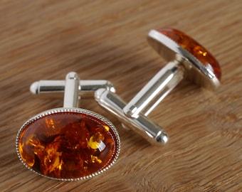 Natural Amber 8,0 gram Classic Amber Cufflinks Present for Men Baltic Amber Cuff Links