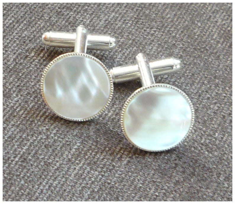 Mother Of Pearl Cuff Links Silver Cufflinks Fathers Day Gift Etsy