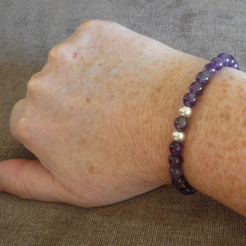 Purple Amethyst Stretch Bracelet Gift for Her Mum Mom Daughter February Pisces Birthday Birthstone 21st 30 40 50 60 Bridesmaids 6th Wedding