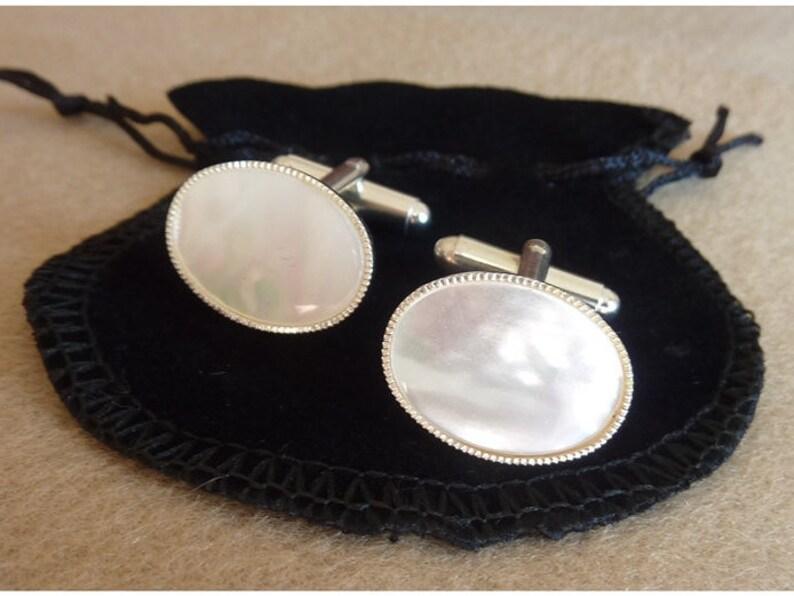 Cufflinks Mother Of Pearl Wedding Cuff Links 30th Anniversary Etsy