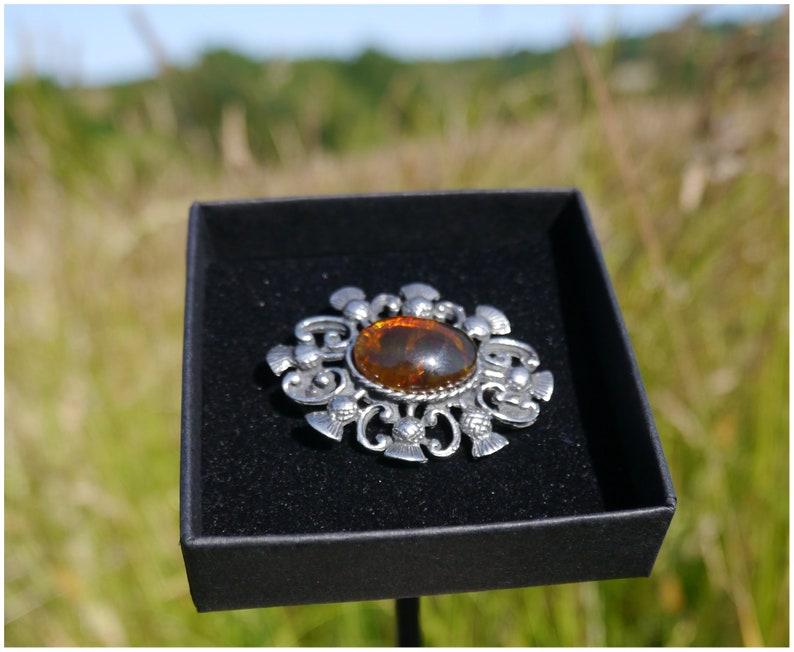 Scottish Orange Amber Thistle Brooch Mothers Day Easter Gift for Her 30 40 50 60 70 80 90 Birthday Mum Wife Grandma Aunt Nan Daughter Women