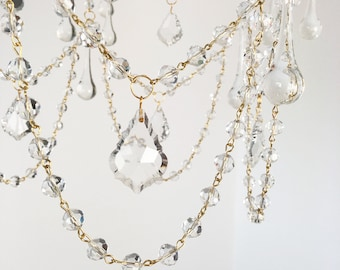 """Clear crystal beaded chain for chandeliers, 39"""" Long, faceted 10mm Round Crystal beads Garland, decor crystal, wedding crystal"""
