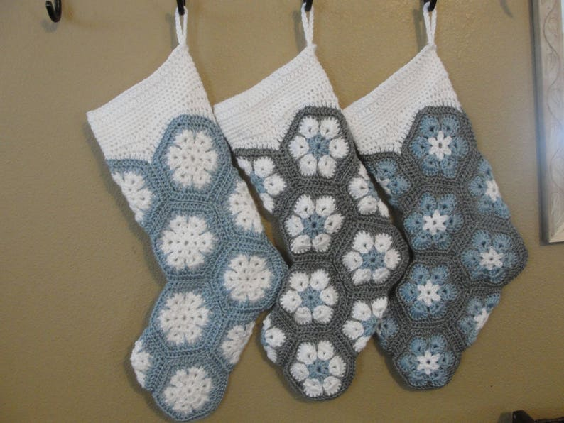 White  and grey Stocking Made to Order #124 Country Blue Custom name option Personalized Christmas Stocking
