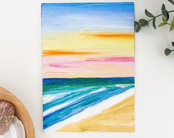 5x7 Canvas Beach Painting- Sunset on the Beach Oil Painting