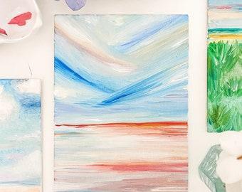 Oil on Canvas Beach Painting- 5x7 Sunrise on the Beach Oil Painting