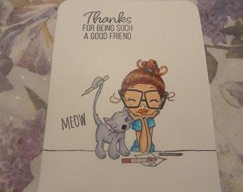 Estampée à la main un ami avec le chat - Merci d'être un bon ami
