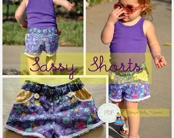 Sassy Shorts PDF Sewing Pattern - Baby, Toddler, Girls, Sizes 12m, 18m, 2, 3, 4, 5, 6, 7, 8, 9, 10, 11, 12