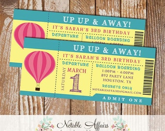 Modern space invite etsy up up away hot air balloon girl birthday party ticket invitation colors can be changed no wording changes due to limited space stopboris Images