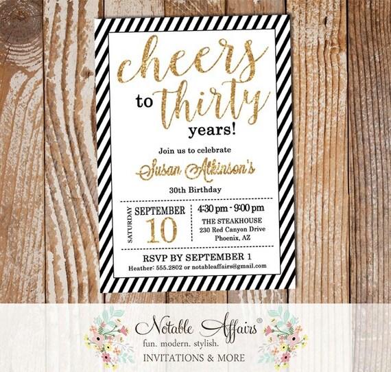 Black White Diagonal Stripes Gold 30th Personalised Birthday Party Invitations