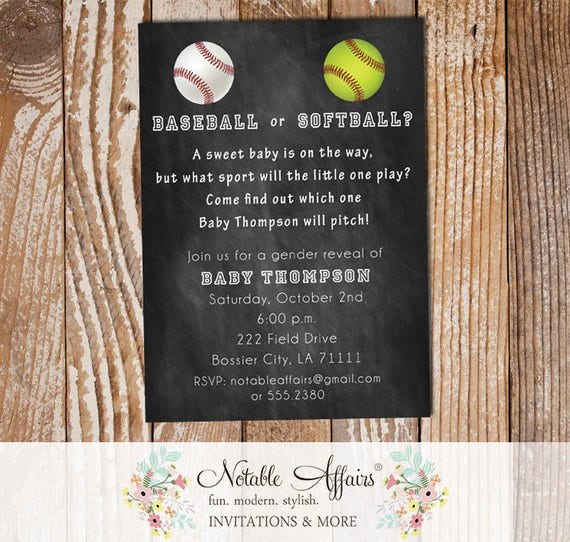 Baseball Or Softball Baby Shower Gender Reveal Party Invitation