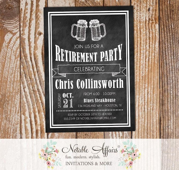 Cheers To Retirement Party Vintage Chalkboard Beer Mugs Invitation