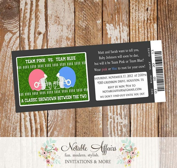 Football Themed Ticket Invitation Perfect For Gender Reveal