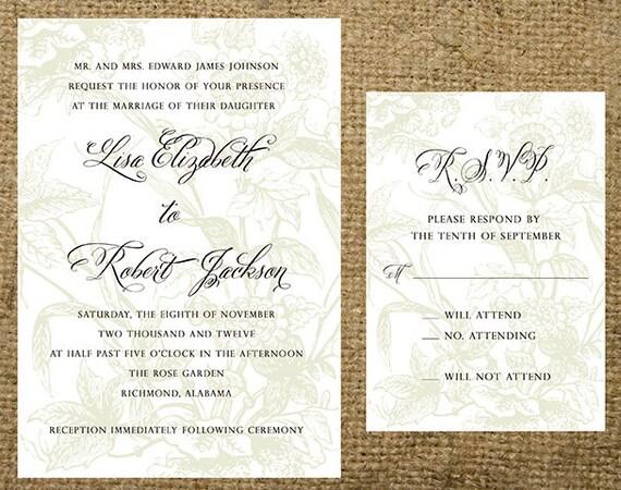 Summer Wedding Invitations: Items Similar To Light Floral Garden Background