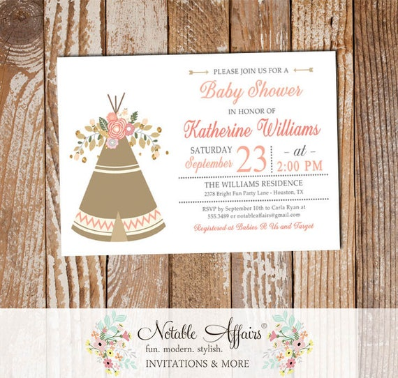 ca3e49b989f Brave little one Boho Gold Indian Teepee Feather Arrow Shower invitation -  bohemian baby shower or bridal shower - no color changes