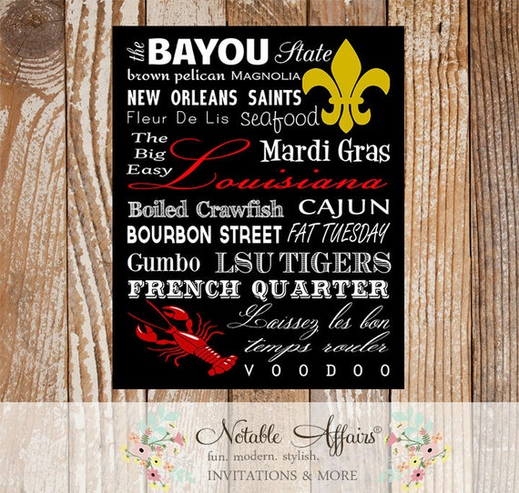 Louisiana Cajun Typography Word Art Print No Frame Included