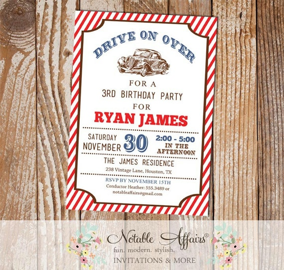 Light Navy And Red Stripes Car Birthday Party Invitation With Kraft