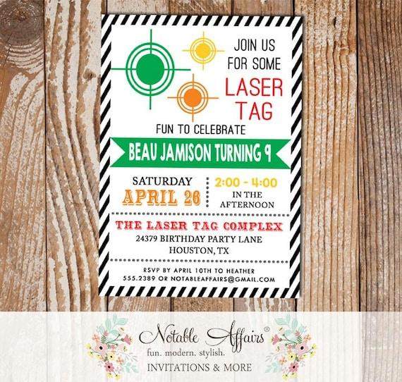 Black Diagonal Stripe Laser Tag Target War Invitation Modern Birthday Any Age