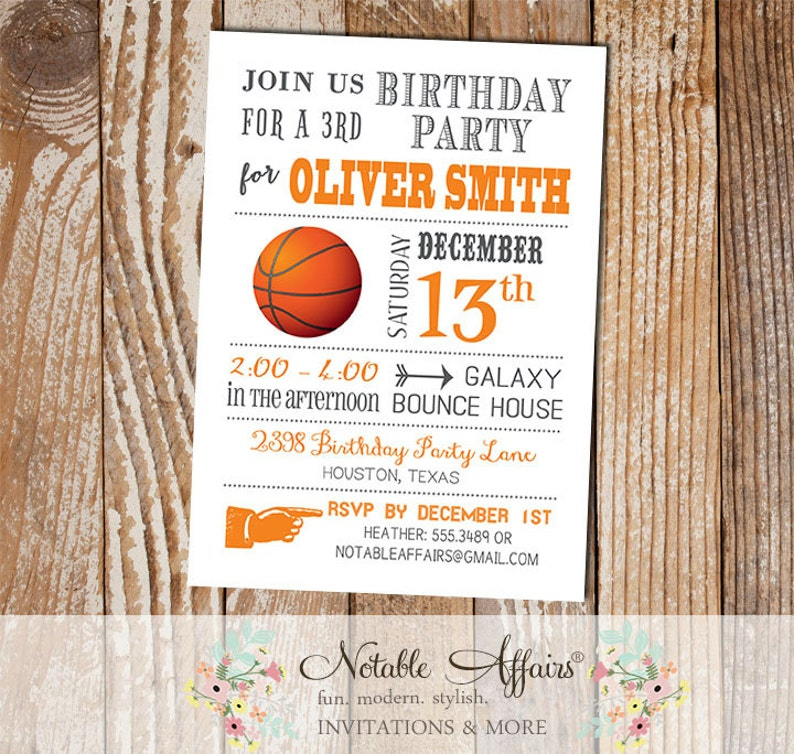 Gray And Orange Modern Basketball Birthday Party Invitation