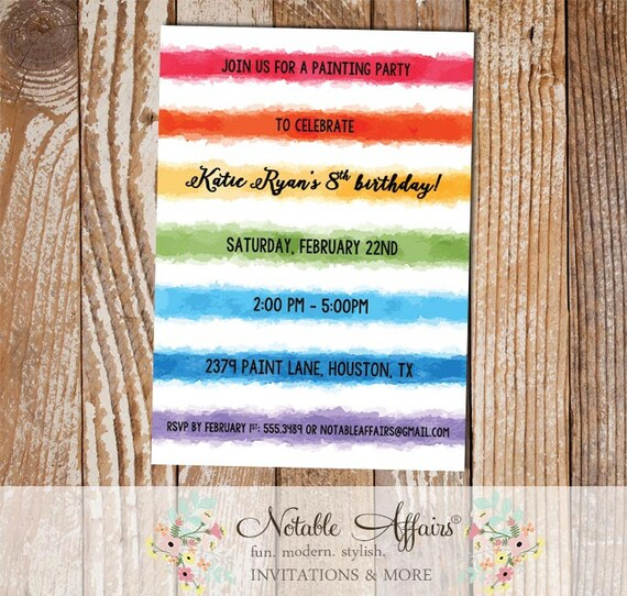 Watercolor Paint Birthday Party Invitation Art Birthday Party