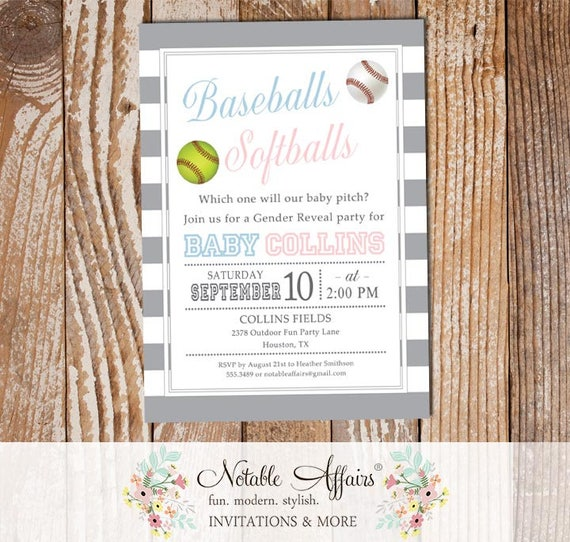 Stripes Baseball Or Softball Baby Shower Or Gender Reveal Party