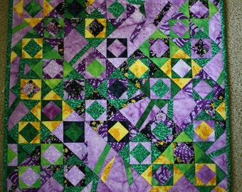 Chaos Art Quilt, Textile Wall Hanging,  Green , Yellow , Purple Fabrics, Table Topper, Bright Batiks, Contemporary Design