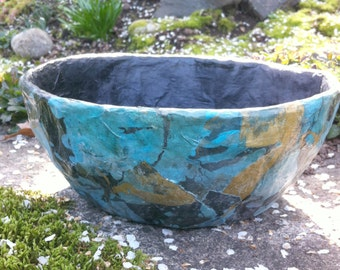 Gold, Blue, Black Abstract Paper Mache Bowl