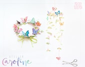 Downloadable Butterflies and flower Paper watercolour, crown, bunting garland printable DIY PDF Instant Download