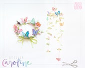 butterflies and flower Paper watercolor butterflies and flower crown and-or bunting garland Downloadable, printable DIY PDF Instant Download