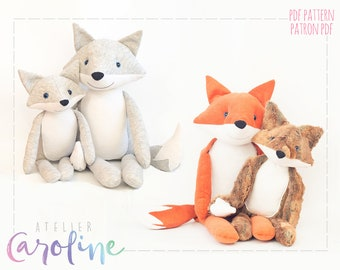 Downloadable Fox and wolf plush Sewing pattern intermediate level, stuffed toy, updated version, DIY Forest Animal Stuffed Rag Doll