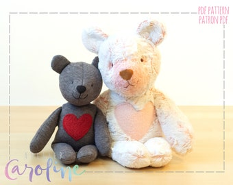 Teddy bear Downloadable Sewing pattern and tutorial, stuffed toy bear plush, small and larger animal, DIY Animal Rag Doll