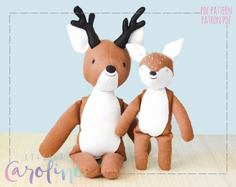 Downloadable Sewing pattern and tutorial, stuffed toy deer plush and fawn, small and large, DIY Animal Rag Doll