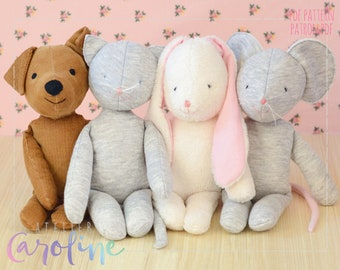 Downloadable Sewing patterns (4), SMALL stuffed toy bunny rabbit, mouse, cat, dog plushes, DIY Animal  Rag Dolls