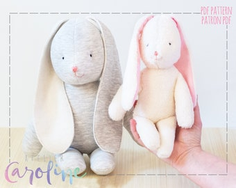 Bunny rabbit plush pdf Sewing pattern and tutorial, small and large stuffed toy , DIY Animal Rag Doll