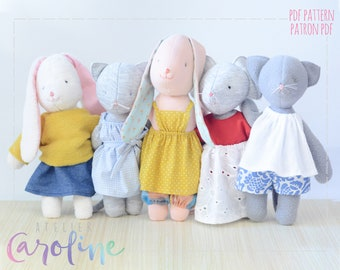 Downloadable Sewing pattern clothes for stuffed animals  plushes, stuffed Rag Dolls, Downloadable pdf