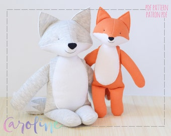 Downloadable Sewing pattern, stuffed toy fox and wolf plush, DIY Animal Stuffed Rag Doll